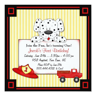 Little Fireman First Birthday 13 Cm X 13 Cm Square Invitation Card