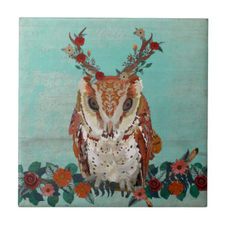 LITTLE FLORAL ANTLER OWL Tile