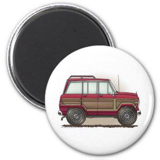 Little Four Wheel Station Wagon 6 Cm Round Magnet