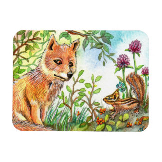 Little Fox And Chipmunk Magnet