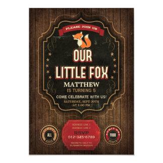 Little Fox Birthday Party Rustic Chalkboard & Wood Card