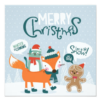 Little Fox, Cat And Gingerbread 13 Cm X 13 Cm Square Invitation Card
