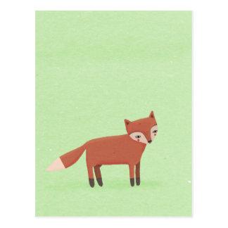 little fox cute woodland creature on green postcard