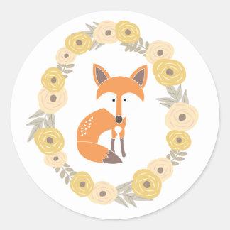 Little Fox Round Sticker