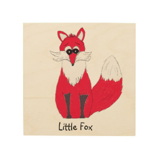 Little Fox Wooden Print