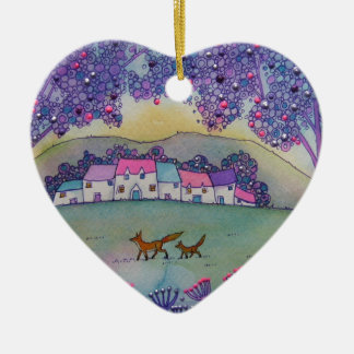 Little Foxes Ceramic Heart Decoration