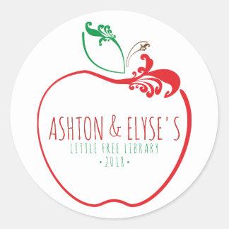 little free library flourish apple stamp classic round sticker