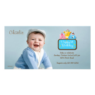 Little Friends - First Birthday Photo Invitation Photo Card Template