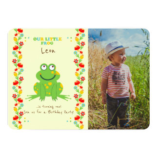 Little frog baby first birthday party photo card