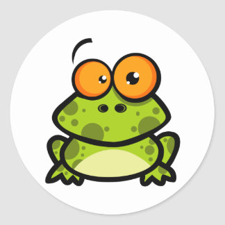 Little Frog Cartoon Character Round Stickers