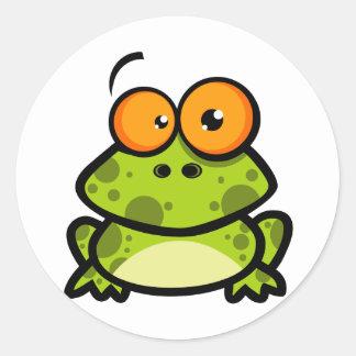 Little Frog Cartoon Character Round Sticker