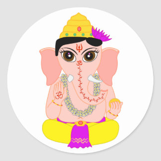 Little Ganesha Classic Round Sticker