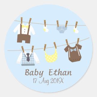 Little Gentleman Baby Boy Shower Party Favors Classic Round Sticker