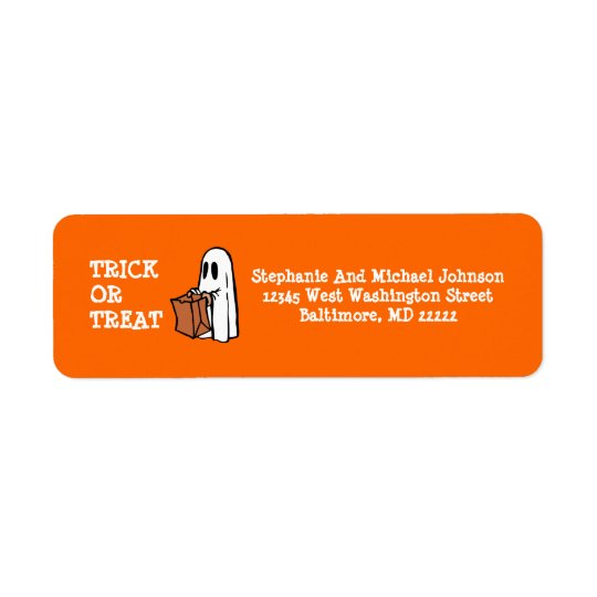 Little Ghost Trick or Treat Halloween Candy bag Return Address Label