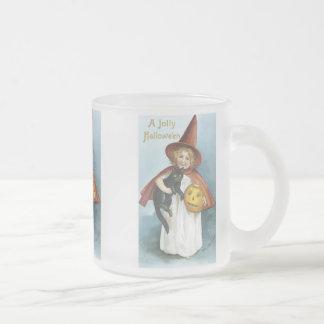 Little Girl and Black Cat Halloween Mugs