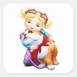 Little Girl and Bulldog Sticker
