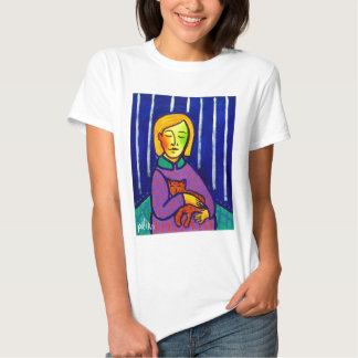 Little Girl and Cat by Piliero Tshirts