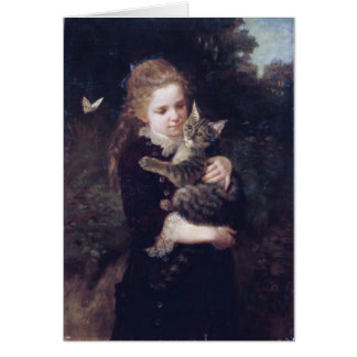 Little Girl and Cat Card