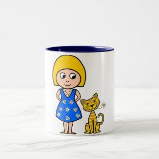 Little Girl and Cat Mug