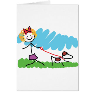 Girl Walking Dog Cards, Invitations, Photocards & More