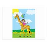 Little Girl and Giraffe Postcard