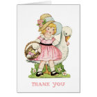 Little Girl and Goose Thank You Note Card