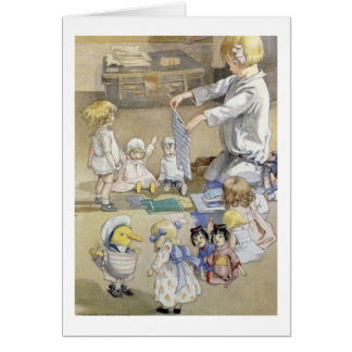 Little Girl and Her Dolls, Card
