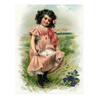 Little Girl and her Eggs Easter Postcard