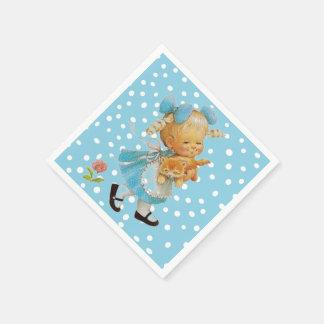 Little Girl and Kitten Paper Napkins