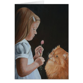 Little Girl and Persian Cat Art Greeting Card