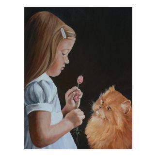 Little Girl and Persian Cat Art Postcard