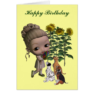 Little Girl And Puppies Birthday Card