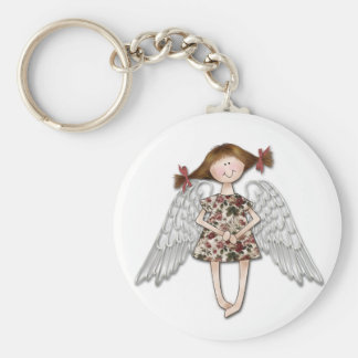 Little Girl Angel Basic Round Button Key Ring