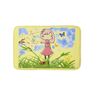 Little girl animated kids bath mat