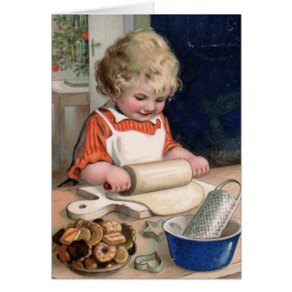 Little Girl Baking Cookies Card