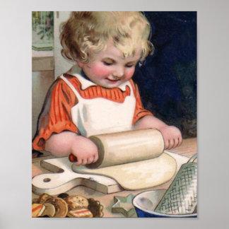 Little Girl Baking Cookies Poster