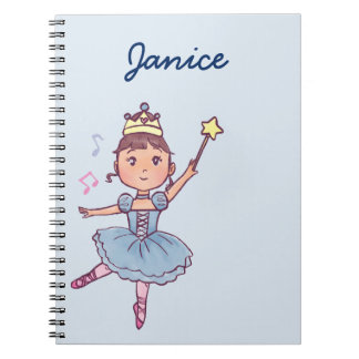 Little Girl Ballet Dancer With Crown and Wand Notebook