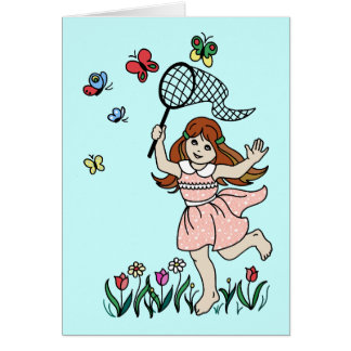 Little Girl Barefoot in the Park and Butterfly Net Card
