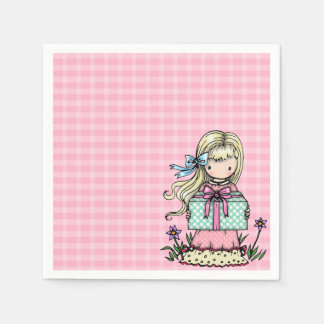 Little Girl Birthday Party Pink Plaid Napkins Disposable Napkins