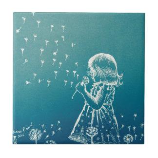 Little girl blowing on a dandelion ceramic tile