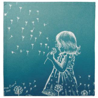 Little girl blowing on a dandelion napkin