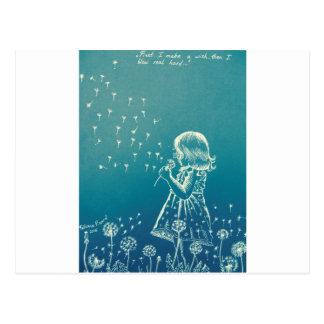 Little girl blowing on a dandelion postcard