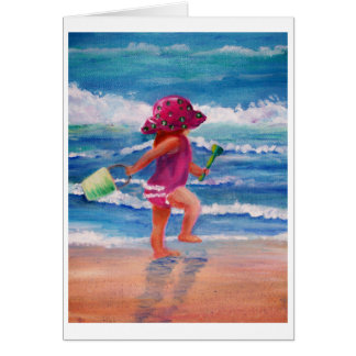Little girl by the ocean card