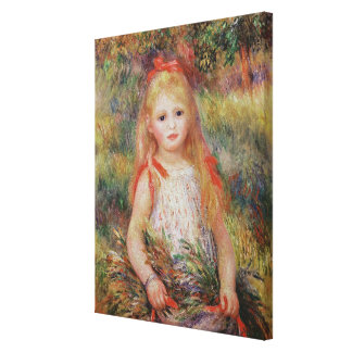 Little Girl Carrying Flowers Canvas Print