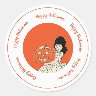 Little Girl Carved Pumpkin Orange Happy Halloween Classic Round Sticker