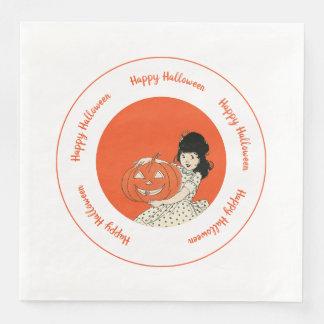 Little Girl Carved Pumpkin Orange Happy Halloween Paper Napkins