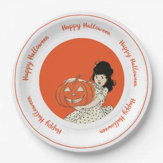 Little Girl Carved Pumpkin Orange Happy Halloween Paper Plate