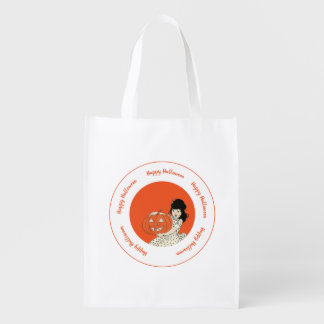 Little Girl Carved Pumpkin Orange Happy Halloween Reusable Grocery Bag