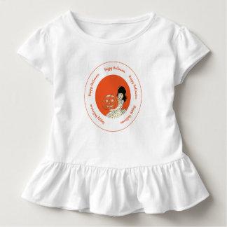 Little Girl Carved Pumpkin Orange Happy Halloween Toddler T-Shirt