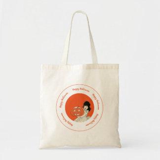 Little Girl Carved Pumpkin Orange Happy Halloween Tote Bag